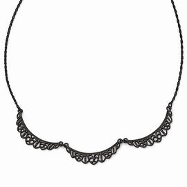 Black IP Downton Abbey Filigree Link Collar Necklace - 16in