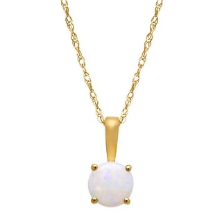 1/3 ct Round-Cut Opal Pendant in 10K Gold