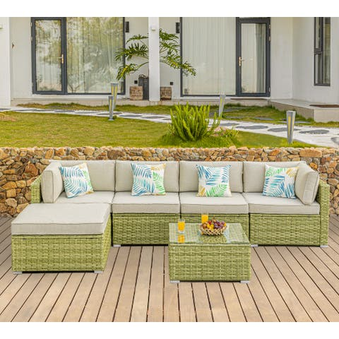 COSIEST 6 Piece Patio Furniture Light Olive Wicker Sectional Sofa Set with Washable Cushions