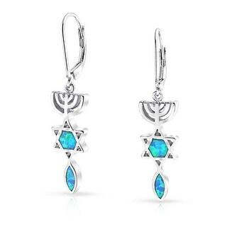 Link to Star of David Je Created Blue Opal Dangle Earrings Sterling Silver Similar Items in Bracelets