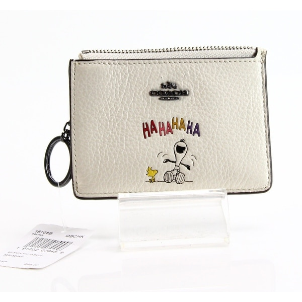 Coach NEW White Ivory Chalk Snoopy Mini Skinny ID Wallet Leather