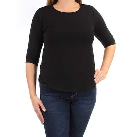 BAR III Womens Black 3/4 Sleeve Jewel Neck Top Size: S