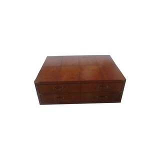 Square Leather Coffee Table Trunk Storage Box
