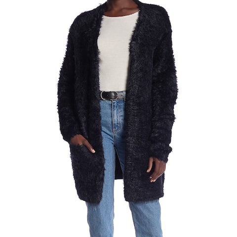 Free People Women's Black Size Small S Faux-Fur Open-Front Cardigan