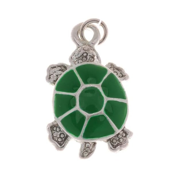 Silver Plated Green Enamel Textured Turtle Charm 20mm (1)