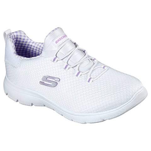 Skechers Women's Summits - Summer Picnic Sneaker, White/Lavender, 10 W