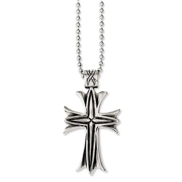 Chisel Stainless Steel Polished & Antiqued Cross 24in Necklace (2 mm) - 24 in