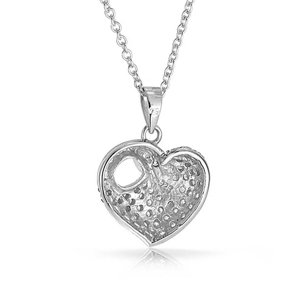 Pave CZ Encrusted Bird Heart Swan Pendant Necklace For Women For Bride 925 Sterling Silver