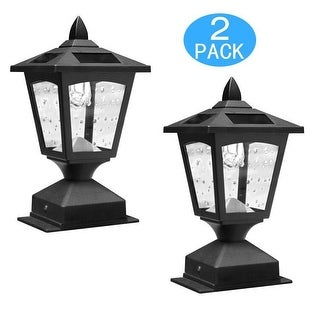 Kanstar Pack of 2 Kanstar Solar Powered Post Cap Light for 4 x 4 Nominal Wood Posts Pathway, Deck
