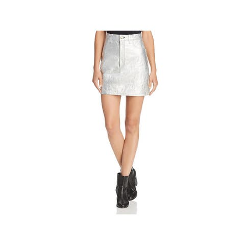 Rag & Bone Womens Mini Skirt Leather Metallic