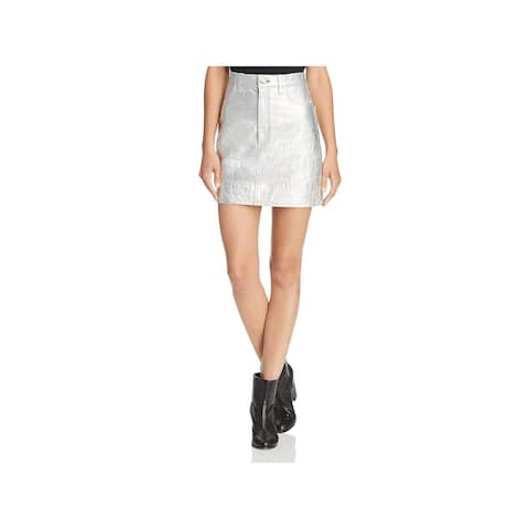 Rag & Bone Womens Moss Mini Skirt Lambskin Leather Metallic - 27