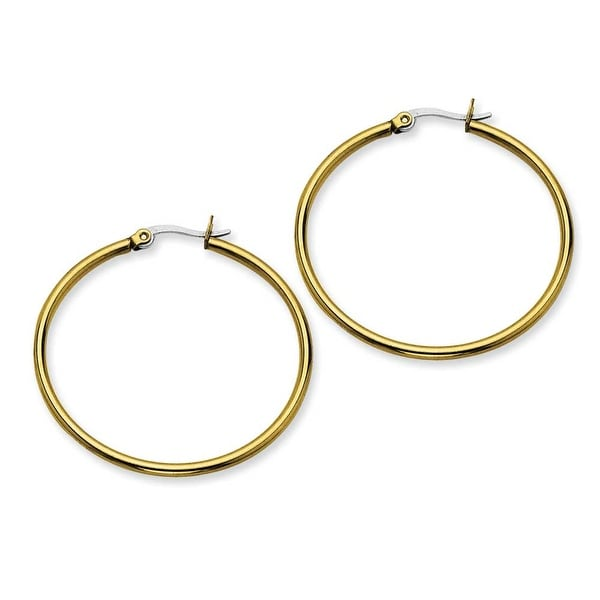 Stainless Steel Gold-plated 40mm Hoop Earrings