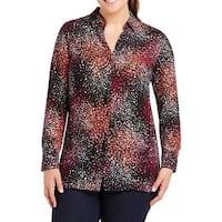 Foxcroft Pink Purple Paint Splash Plus Button Down Shirt
