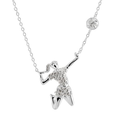 Crystaluxe Volleyball Player Necklace with Crystals in Sterling Silver - White