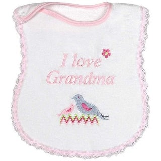 "Raindrops Baby Girls ""I Love Grandma"" Embroidered Bib, Pink - One size"