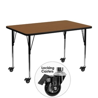 "Delacora FF-XU-A2448-REC-H-A-CAS-GG  48"" Wide Steel Framed Wood Top Adjustable Activity Table with Locking Casters"