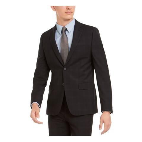 CALVIN KLEIN Mens Black Single Breasted, Wool Blend Jacket 48R