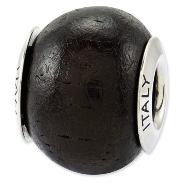 Italian Sterling Silver Reflections Jacaranda Wood Bead