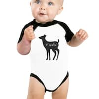 Fawn Cute Baby Baseball Bodysuit Black Sleeve Cotton Baby Raglan