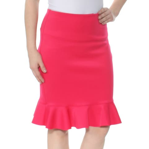 GUESS Womens Red Ruffled Knee Length Pencil Cocktail Skirt Size: 6
