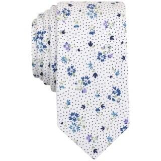 BAR III NEW White Blue Purple Floral Printed Skinny Men's Cotton Necktie