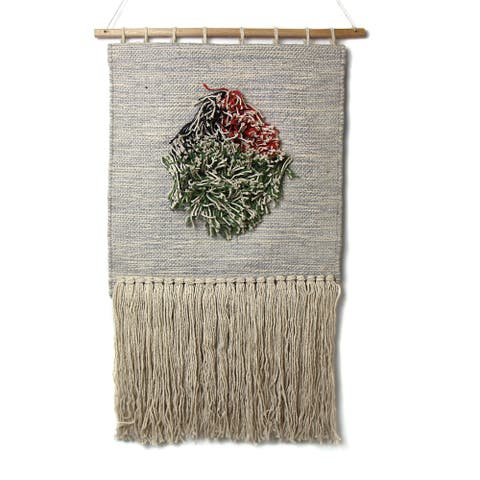 Handwoven Boho Wall Hanging, Neutral with Pop of Color