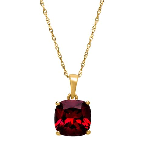 2 1/2 ct Cushion-Cut Natural Garnet Solitaire Pendant in 14K Gold - Red