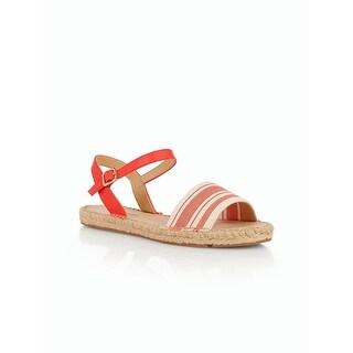 Talbots NEW Spicy Orange Size 7.5 Ivy Ankle Strap Leather Stripe Sandals