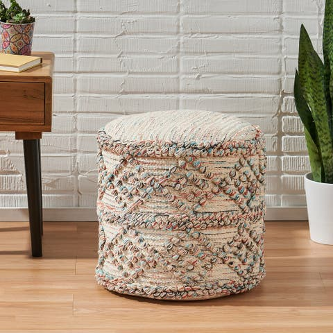 Tilden Boho Fabric Cylinder Pouf by Christopher Knight Home