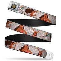 Moana Tribal Sun Full Color Black Yellows Moana 3 Poses Pig & Rooster Seatbelt Belt Standard