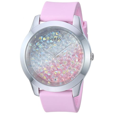 Guess Woman's W1223L1 Crush Stainless Steel Watch With Pink Silicone Strap - One Size