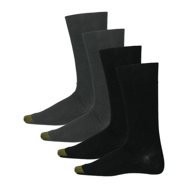 Gold Toe Mens Dress Socks Ribbed Knit 4PK - 10-13