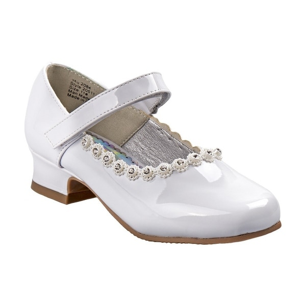 8f168975db68 Shop Little Girls White Patent Flower Embellished Mary Jane Shoes ...