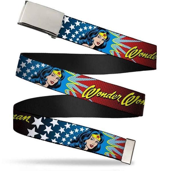Blank Chrome Buckle Wonder Woman Face W Stars Webbing Web Belt
