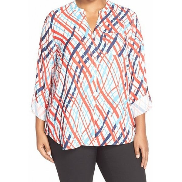 e417579662ea6 Shop Halogen NEW White Women s Size 1X Plus Printed Pocket Button Down  Shirt - Free Shipping On Orders Over  45 - Overstock.com - 17366812