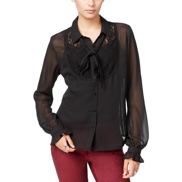 40263f59 Shop Fair Child Womens Button-Down Top Sheer Lace Inset - Free ...