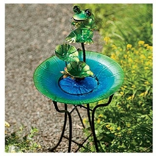 "CTM LH40481 Glass & Metal Bird Bath with Frog Fountain, 15"""