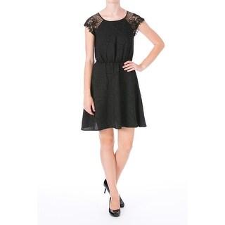 Impulse Womens Textured Lace Trim Cocktail Dress