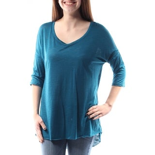 Womens Blue 3/4 Sleeve Scoop Neck Top Size M