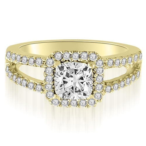 0.94 cttw. 14K Yellow Gold Princess And Round Cut Diamond Engagement Ring