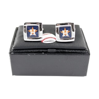MLB Houston Astros Square Cufflinks with Square Shape Logo Design Gift Box Set