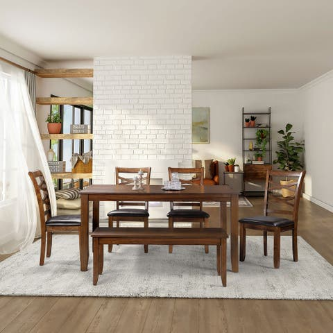 6-Piece Dining Table with 1 Bench, 4-piece Chair Kitchen Dining Sets for Living Room