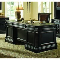 """Hooker Furniture 370-10-563 76"""" Wide Hardwood Executive Desk from the Telluride Collection - black with red rub through"""