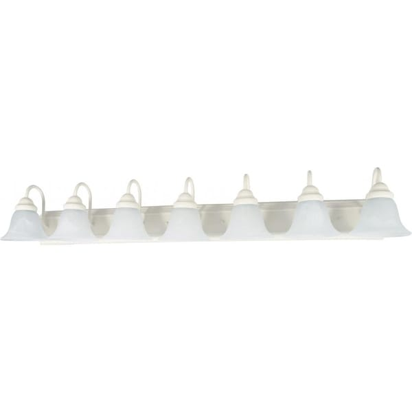 "Nuvo Lighting 60/294 Ballerina 7 Light 48"" Wide Vanity Light with Alabaster Glass Shades - textured white"