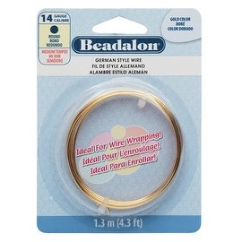 Beadalon Craft Wire, German Style Round Copper Wire 14 Gauge, 4.3 Feet, Gold Color