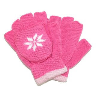 CTM® Girls' Stretch Convertible Fingerless Winter Mittens / Gloves - One Size