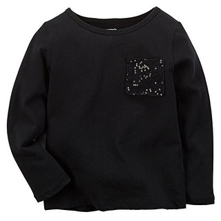 Carter's Little Girls' Sequin Pocket Tee - Black - 4 Kids