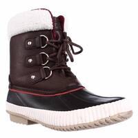 Tommy Hilfiger Ebonie Water Resistant Fleece Lined Winter Booties, Medium Brown