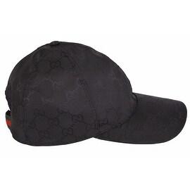 Gucci Men's 387578 Black Nylon GG Guccissima Web Stripe Baseball Cap Hat S