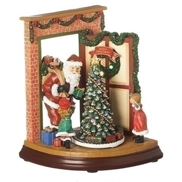 "9"" Musical LED Open Door Rotating Christmas Santa Figure"